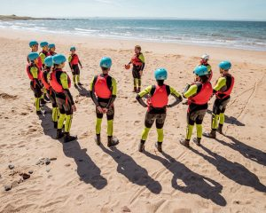 What is coasteering | Listening to the safety brief | The Shell Bay coasteer | This people will know |
