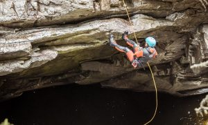 Abseiling at the Falls of Bruar which is one of Scotlands best canyoning experiences